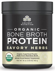 Ancient Nutrition Bone Broth Protein Savory Herb Organic 17 Servings