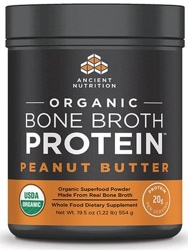 Ancient Nutrition Bone Broth Protein Peanut Butter Organic 17 Servings